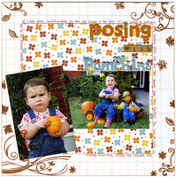 Posing with pumpkins