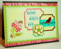 **Collage Press Reveal** Bird Birthday Card