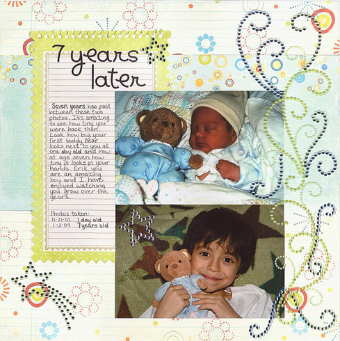 Erik - 1 day old & 7 years old (11-21-01 & 1-3-09)