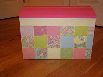 Baby Girl Decoupage Trunk