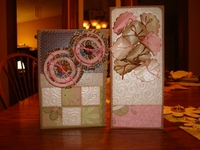 cards made with paper and fabric scraps