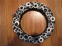 Black and White Button Wreath