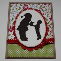 Santa and boy Silhouette card