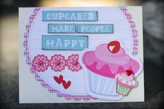 """Cupcakes Make People Happy"" Card - LYB Cupcake LOVE CT Reveal"