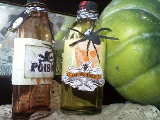 Upcycled Vanilla bottles for Halloween decor! (poison bottles)
