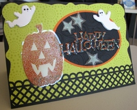Halloween card, coffin, and bag