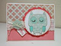 Little Owl Baby Girl Card