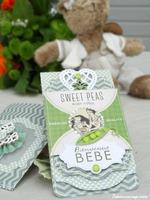 "Sweet Peas ""Bienvenue bébé"" card and bag"