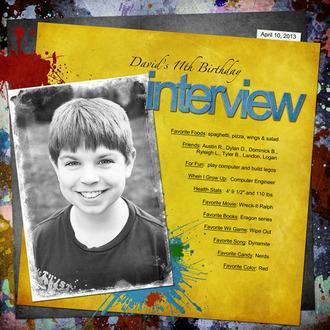 David's 11th Birthday Interview