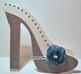 Something Blue Wedding shoe card