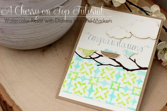 how to water color resist embossing