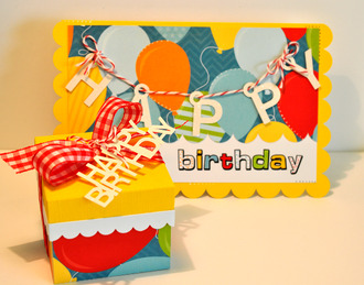 birthday banner card and gift box