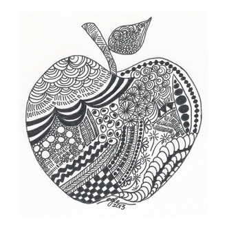 Zentangle:  Apple Art 1
