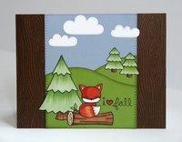 A Lawn Fawn Fall Fox Scene Card by Mendi Yoshikawa