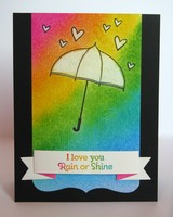Rain or Shine Umbrella Rainbow Card by Mendi Yoshikawa