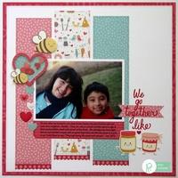 Pebbles We Go Together Valentine Layout by Mendi Yoshikawa