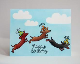 Lawn Fawn Dog Birthday Card by Mendi Yoshikawa