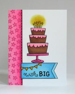 Lawn Fawn Cake Birthday Card by Mendi Yoshikawa