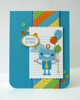 Doodlebug Hip Hip Hooray Robot Card by Mendi Yoshikawa