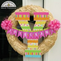 Doodlebug Washi Monogram Wreath by Mendi Yoshikawa