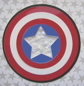 Captain America Shaker Shield shaped card