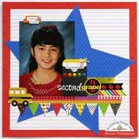 Doodlebug Back To School Star Layout by Mendi Yoshikawa