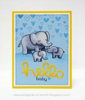 Lawn Fawn Hello Baby Elephant Card by Mendi Yoshikawa