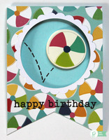 Beach Ball Banner Shaped Birthday Card *Pebbles*