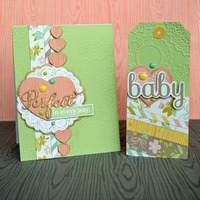 Baby card and tag set.