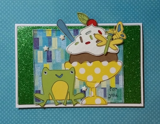 Frog and ice cream card