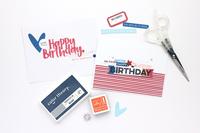 Happy Birthday Card-Red, Orange & Blue