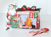 Santa Fireplace Gift Box & Home Decor