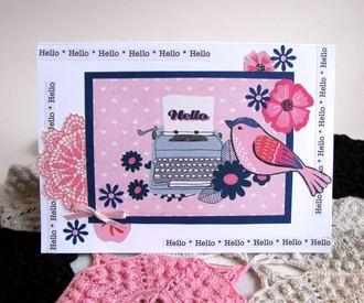 Note Card Typewriter and Bird