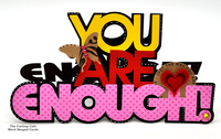 you are enough custom word shaped card