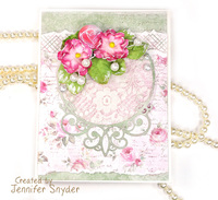 Card with Lace, Dies and Flowers