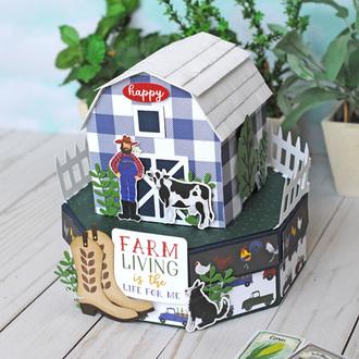 Echo Park Paper Down on the Farm Barn Gift Box