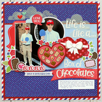 Doodlebug French Kiss - Box of Chocolates Layout