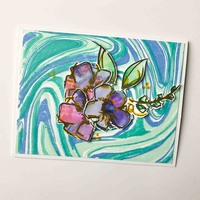 Marbled Floral Card - all occasion