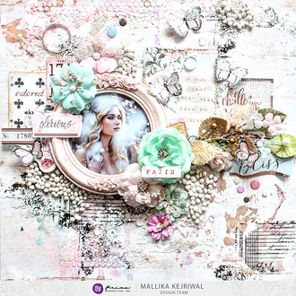 """""""Glorious"""" layout featuring Prima's """"Apricot Honey"""" collection by designer, Mall"""