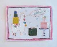 Birthday Card Llama Sequins