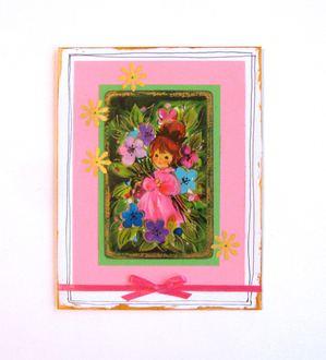 Girl Playing Card Pink