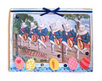 Easter Card Banjo Rabbits
