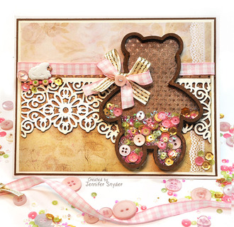Teddy Bear Shaker Card - baby girl