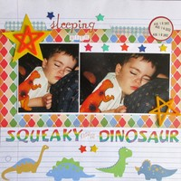 Sleeping with Squeaky the Dinosaur