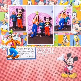 Mickey Mouse & Goofy at Disney / Epcot Scrapbook Layout