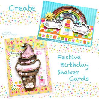 Ice cream and rainbows shaker cards