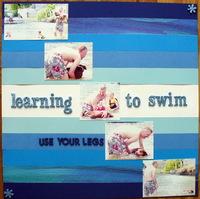 Dog learning to swim