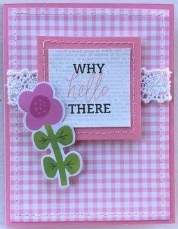 Pink Plaid Hello Card