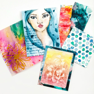 Watercolor Paintings with Stecils