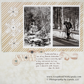 Tone on Tone Scrapbook Layout about Snow
